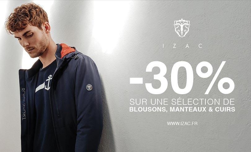 Izac : -30% sur les blousons, manteaux et cuirs