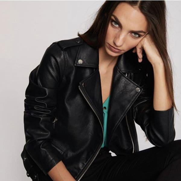 blouse perfecto cuir noir morgan