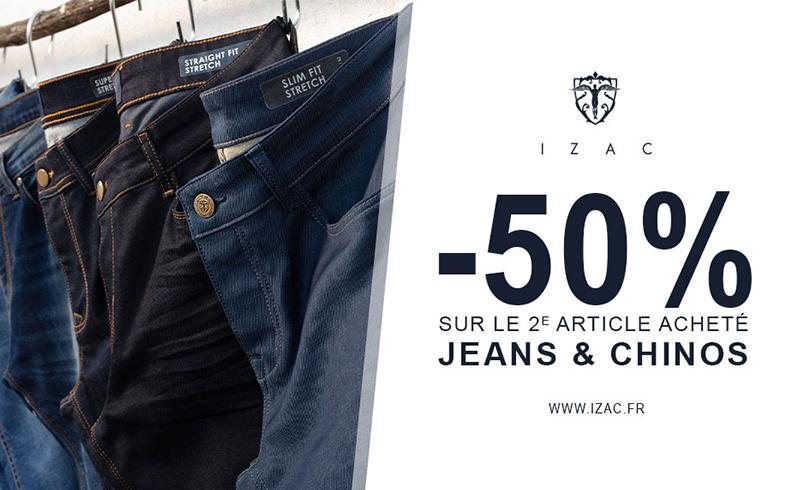 -50% sur les jeans et chinos !