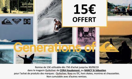 Remise de 15€ dès 75€ d'achat chez Quiksilver - Saint-Sebastien Nancy