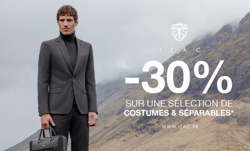-30% sur une sélection de costumes, vestes et pantalons chez Izac
