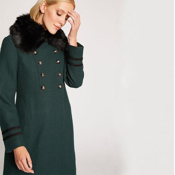 manteau col fourrure face morgan