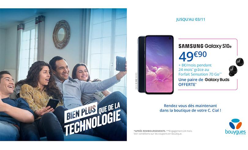 Le Samsung Galaxy S10e à 49,90€ + 8€/mois chez Bouygues Telecom