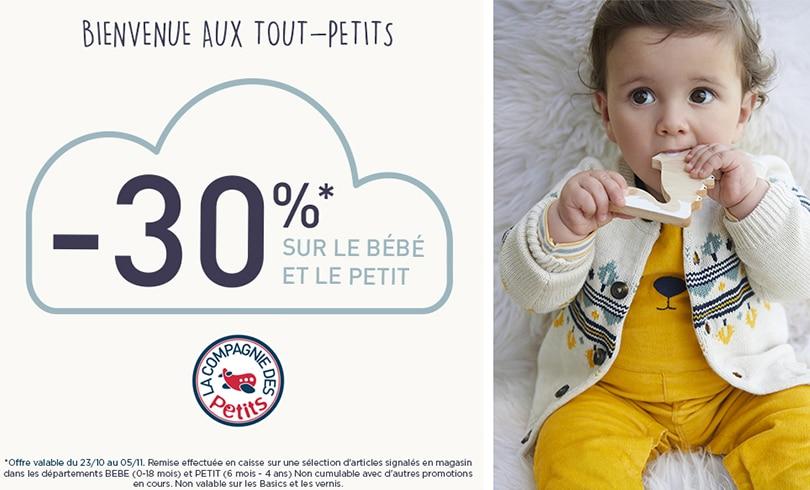 -30% sur une sélection d'articles bébés et petits chez La Compagnie des Petits