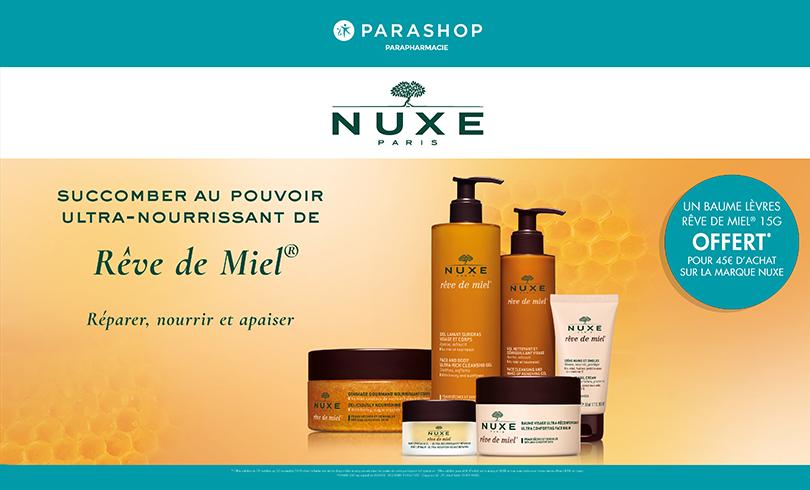 1 baume à lèvres offert dès 45€ d'achat de produits Nuxe chez Parashop