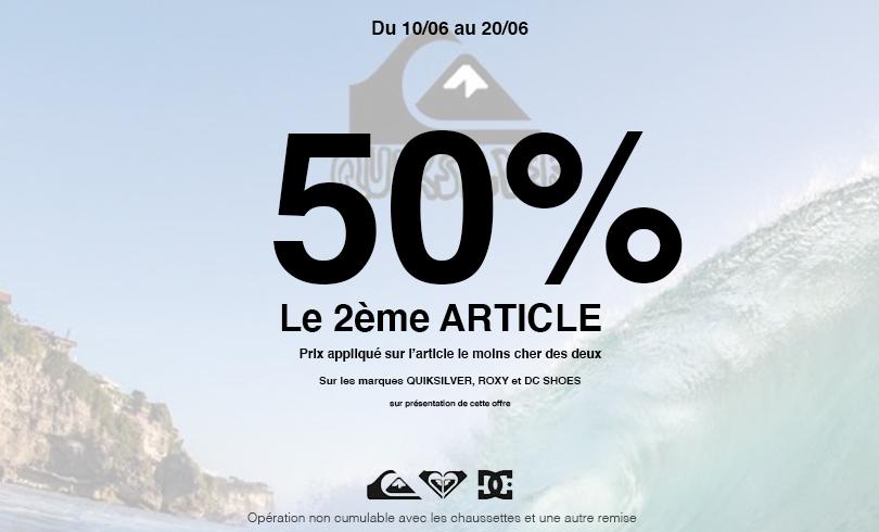 -50% sur le 2ème article chez Quiksilver
