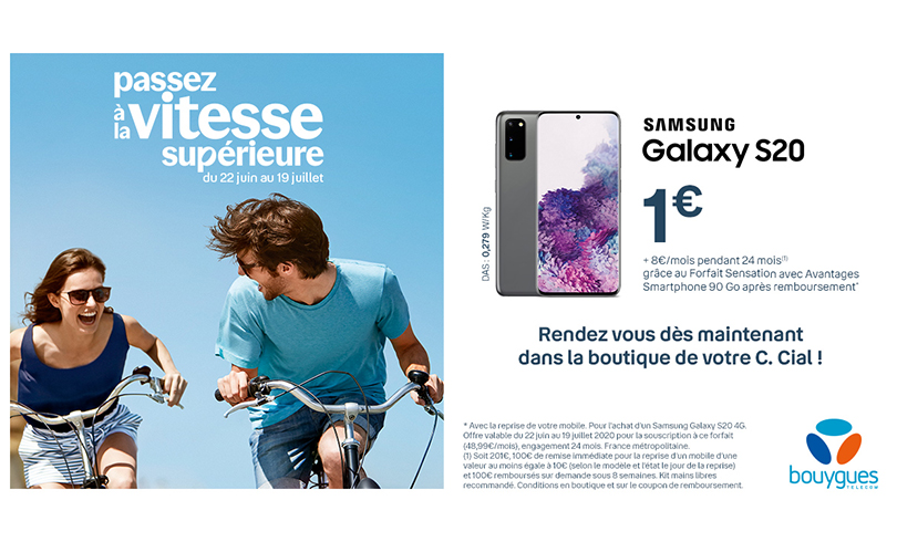 Le Samsung Galaxy S20 est à 1€ dans votre boutique Bouygues Telecom