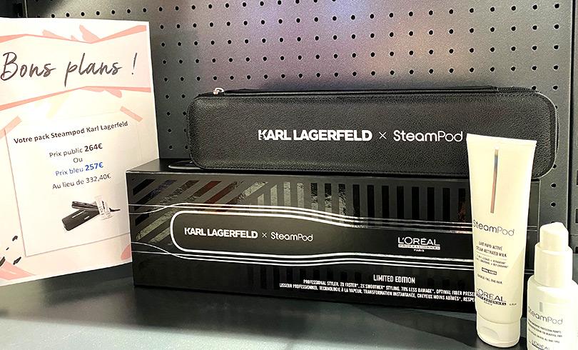 Promotion sur le pack Steampod x Karl Largerfeld chez Bleu Libellule