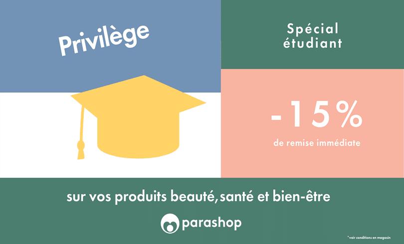 15 % de remise pour les étudiants chez Parashop